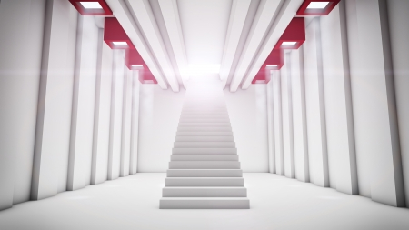 Abstract big hall with staircase to outside