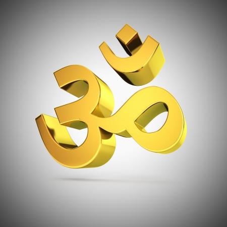 3d aum: Golden shine Om indian symbol on grey
