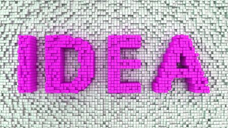 Word Idea made from pink matrix of cubes photo
