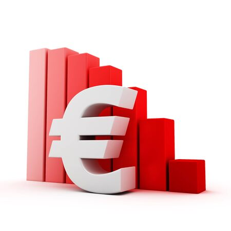 moving down: Euro symbol and moving down bar graph on white