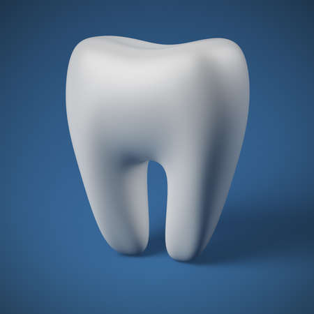 neat: Neat molar tooth on blue background Stock Photo