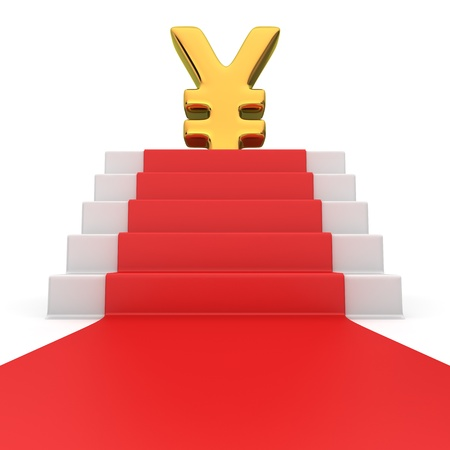 yen: Golden yen currency symbol on the podium with red carpet