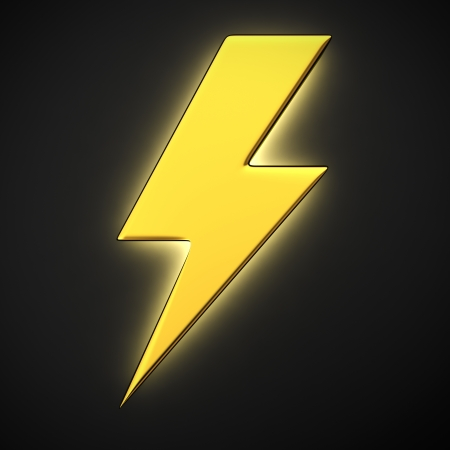 Lightning symbol with backlight effect on the black background photo