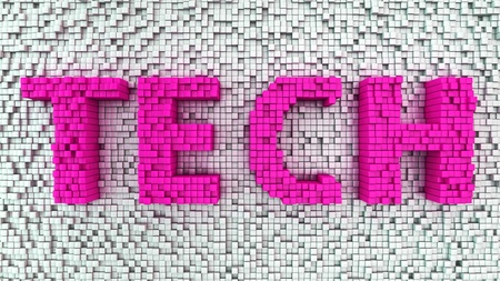 TECH in uppercase transparent magenta letters on a background of three dimensional white cubes scattered in a random pattern photo
