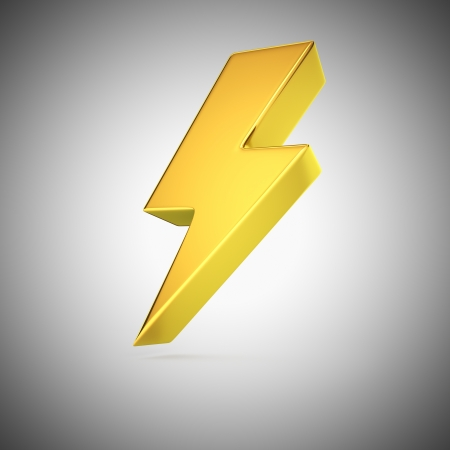 3d lightning: Golden lightning symbol on grey background Stock Photo