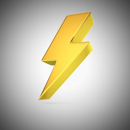 Golden lightning symbol on grey background Standard-Bild