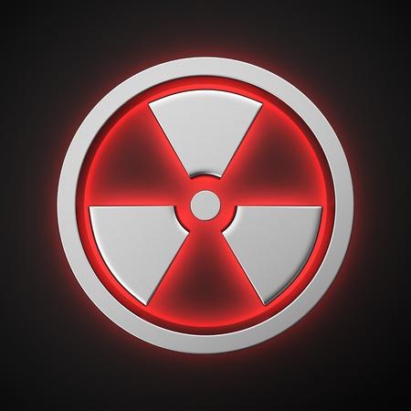 backlight: Radiation symbol with backlight effect on the black background