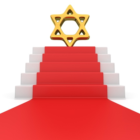 judah: Golden star of David symbol on the podium with red carpet Stock Photo