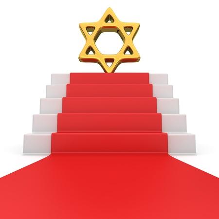 judah: Golden star of David symbol on the podium with red carpet Stock Photo