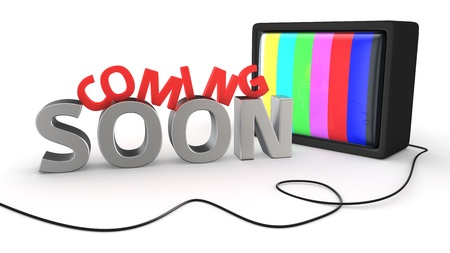 promotional: Old style tv-set and message Coming Soon on white