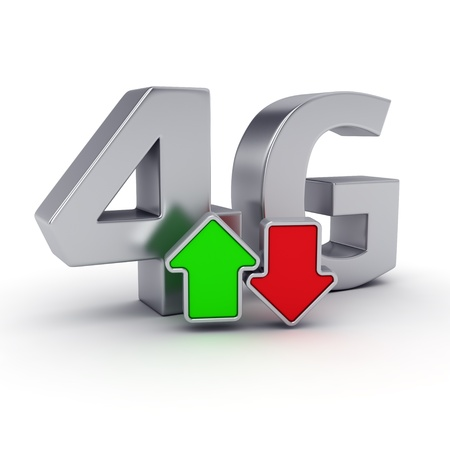 lte: Big steel letters 4G and uploaddownload arrows Stock Photo