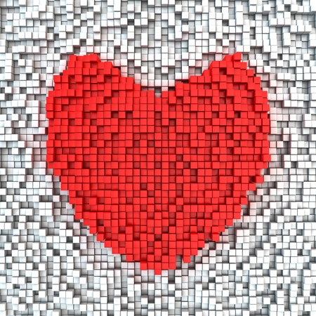 Heart made from matrix of red cubes photo
