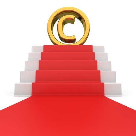 authorship: Golden copyright symbol on the podium with red carpet Stock Photo