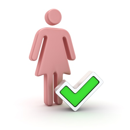 Pink symbol of a woman and green tick Stock Photo - 21378408