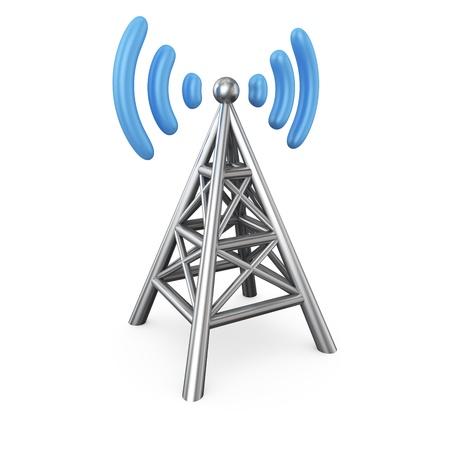 Metal antenna symbol isolated on white Standard-Bild
