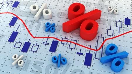 Percent symbols lying on trading chart photo