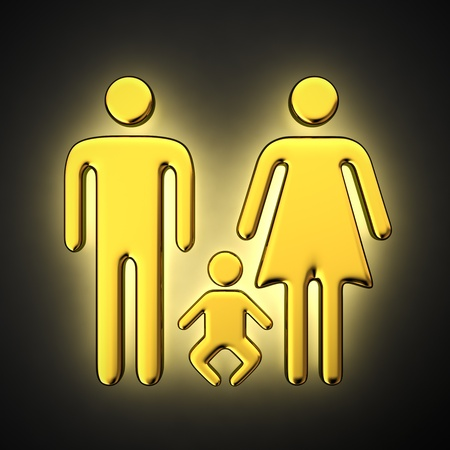 black family: Golden symbol of a family with backlight effect on the black background Stock Photo