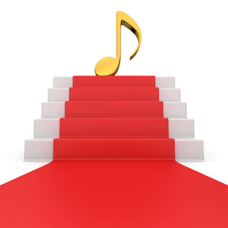Golden music note symbol on the podium with red carpet photo