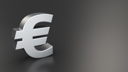 Metal euro symbol on black background with copyspace photo