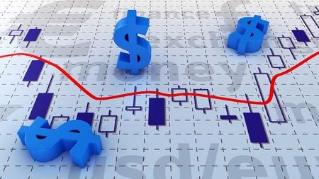 Blue symbols of dollar currency lying on trading chart Standard-Bild