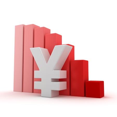 yen sign: Yen symbol and moving down bar graph on white
