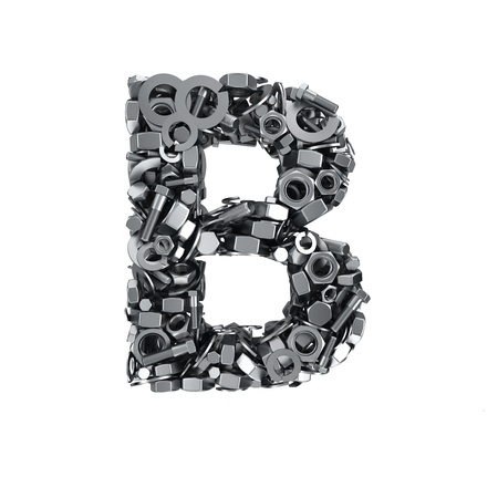 fasteners: Big letter B made from metal fasteners