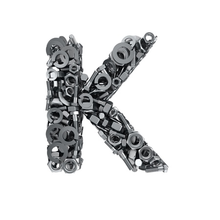 fasteners: Big letter K made from metal fasteners