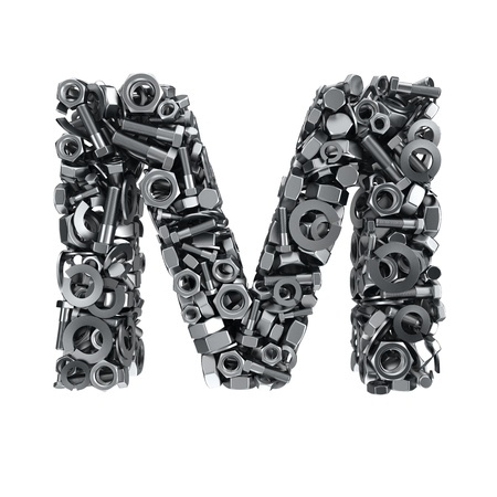 fasteners: Big letter M made from metal fasteners Stock Photo
