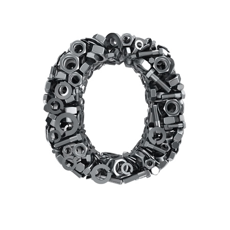 fasteners: Big letter O made from metal fasteners