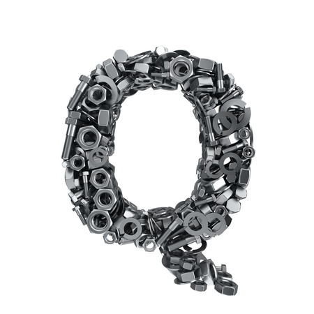 fasteners: Big letter Q made from metal fasteners