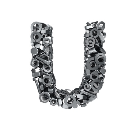 fasteners: Big letter U made from metal fasteners Stock Photo