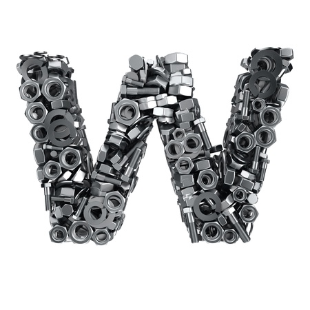 fasteners: Big letter W made from metal fasteners
