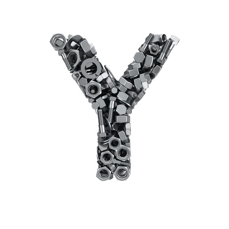 fasteners: Big letter Y made from metal fasteners Stock Photo