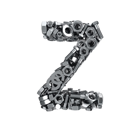 fasteners: Big letter Z made from metal fasteners