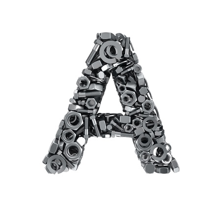 letras cromadas: Gran letra A hecha de sujetadores met�licos