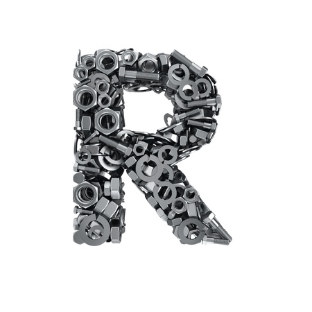 fasteners: Big letter R made from metal fasteners