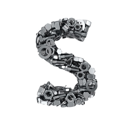 fasteners: Big letter S made from metal fasteners