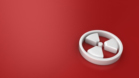 White radiation symbol on red background with copyspace Stock Photo - 21370788