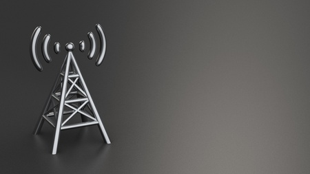 cellular repeater: Metal antenna symbol on black background with copyspace