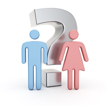 Big question mark and symbols of a man and woman