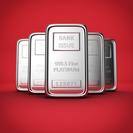 shallow: Arrangement set of five platinum ingots with shallow depth of field on red background