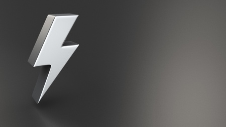 3d  bolt: Electricity, power and energy symbol in the form of a lightning bolt or zig zag electrical discharge on a black to grey gradient background with copyspace