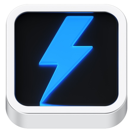 Lightning symbol luminous square shape application icon photo