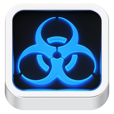 Biohazard luminous square shape application icon Stock Photo - 21946892