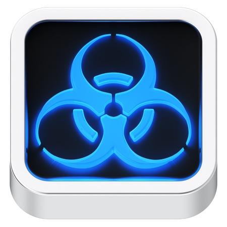 Biohazard luminous square shape application icon Stock Photo - 21946892