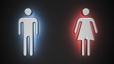 backlighting: Metal symbols of a man and woman with backlight effect on the black background Stock Photo