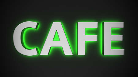 Word Cafe with backlight effect on the black background photo