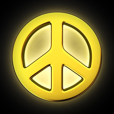 backlighting: Peace symbol with backlight effect on the black background