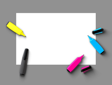 Top view of CMYK felt-tip pens on blank paper photo