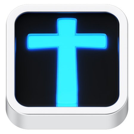 Cross sign luminous square shape application icon photo